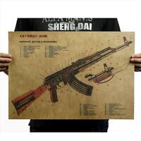 AK47 Art Gun Assault Rifle Structure Chart Kraft Paper Poster Wall Sticker Decor