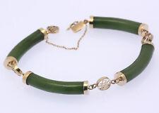 ♦♦ Armband in 14 kt 585er Gelb Gold mit Jade Armreif Jadearmband Armspange ♦♦
