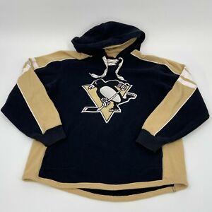 NHL Pittsburgh Penguins Hoodie Tie Sweatshirt Men's S Reebok Face Off Collection