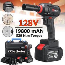 128V LED Light Brushless Cordless Impact Wrench Drill Hammer & 2 Li-ion  u Q