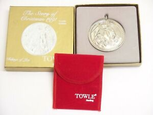 """1991 Towle Sterling Silver Christmas Ornament """"Tiidings Of Joy"""" Mint In Box"""