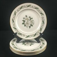 Set of 4 VTG Bread Plates by Royal Jackson Magnolia Floral Vogue Ceramic USA