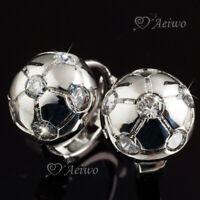 18k white gold made with Swarovski crystal half ball bead huggie stud earrings