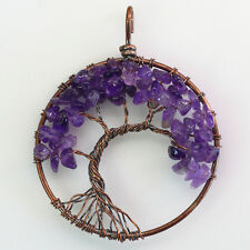 Natural Amethyst Chip Beads Tree of Life Wire Wrap Chakras Round Copper Pendant