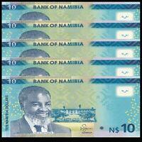 Lot 5 PCS, Namibia 10 Dollars, P-16, 2015, UNC