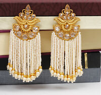 Traditional Indian Bollywood Gold Tone Long White Pearl Jhumka Earring Jewelry