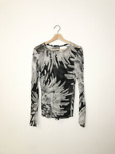 LILITH ITALY BLACK AND WHITH FLORAL MESH LONG SLEEVES TOP BLOUSE SIZE M