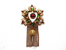 Exquisite Vintage Multi-Stone Star Pin With Hanging Pearl & Fringes