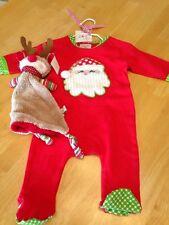 mudpie Santa Sleeper  0-6 months PLUS Christmas Reindeer Binkie Blankee NEW!