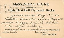 Miss Nora Kiger, Breeder of High Class Buff Plymouth Rocks, Marion, Ohio 1912