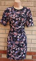 G21 BLACK PINK PURPLE FLORAL ABSTRACT FLORAL SMOCK TUBE BODYCON DRESS 10 S