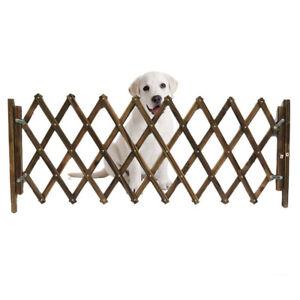 IC- KQ_ NE_ 33-110cm Dogs Wooden Fence Gate Panel Expandable Pet Separation Barr
