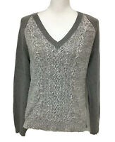 Chaps Pullover Sweater Women's Size L Gray V Neck Cable Knit Cotton Blend