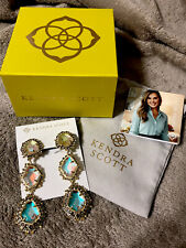 Kendra Scott Aria Silver Statement Earrings in Gray Dichroic Glass (Clip On)