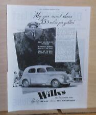 1937 magazine ad for Willys - Half the gas, Twice the Smartness, A.H. Brachvogel