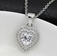 "Sterling Silver Necklace 18"" Chain Topaz Zirconia Heart Cut Pendant Gift Box E15"