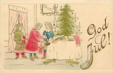 Christmas~Ladies Prepare~Lit Decorated Tree~Violin~Toy~Gold Leaf~Airbrush~Sweden