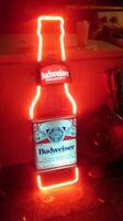"""BUDWEISER BOTTLE NEON SIGN BUD LIGHT BUSCH BEER BAR BIKINI VINTAGE LIGHT 13""""X5"""""""