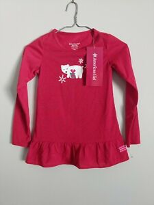 American Girl Red Polar Bear Pajamas Shirt Size 7/8 Nighty