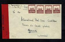 1940 Haifa Palestine cover to Red Cross Geneva Switzerland Censored