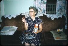 Sofa Woman With Sears Camera Catalog Eats Planters Peanut Vtg 1960s Slide Photo