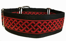 "Red Celtic Band LINED Martingale Dog Collar 2"" wide Greyhound Lurcher"