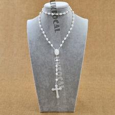 Glow in the Dark Prayer Beads Rosary Crucifix Necklace Plastic Beads Unisex
