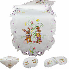 Easter brown Bunnies colourful Eggs Embroidery Table runner Tablecloth White