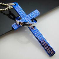 Encantador Hombres Mujeres Punk Cruz colgante Collar Biblia De acero de titanio