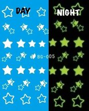 Nail Art Water Decals Glow in the Dark Night Time Stars DG005
