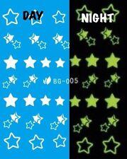 Nail Art Water Decals Glow in the Dark Night Time Stars DG005