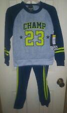 "Boys Outfit Sweatshirt & Sweat Pants Navy Blue Gray Yellow ""Champ 23"" Size 5/6"