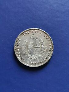 1917 URUGUAY 50 Centesimos Silver Coin Jose Artigas