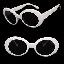 1e3d36400d Retro Bold Oval Mod Blanco Grueso Gafas de Sol Marco Lentes Oscuros Uv400