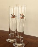 Budweiser 16 oz Pilsner Beer glasses Anheuser Busch Flying A Eagle Logo in Color