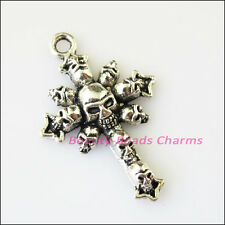 3Pcs Antiqued Silver Tone Halloween Skull Cross Charms Pendants 28x43mm