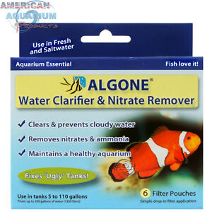 Algone 6 Filter Pouches; Controls nitrates, ammonia, cloudy water & algae by AAP