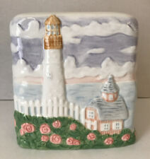 Ceramic Tissue Box Cover, ocean sea Ship Lighthouse