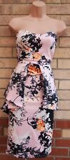 MISSI LONDON PINK BLACK WHITE FLORAL BANDEAU PEPLUM BODYCON SUMMER DRESS 14 L