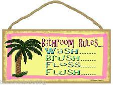 "Tropical Palm Tree Bathroom Rules Bathroom Sign Plaque 5X10"""