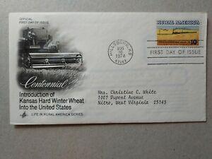 US 10c. Wheat Fields & Train, Rural American. Artcraft FDC. Hillsboro KS