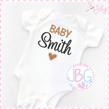 Personalised Baby Vest Unisex, Embroidered Design, Clothes, Grow, Bodysuit