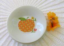 "Vintage Set 3 Sauce Biscuit Plates Orange Checked Peach Apple Fruit Japan 4 3/8"""