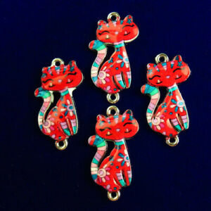 4Pcs Carved Tibetan silver Dripping Oil Red Cat Pendant Bead R53980