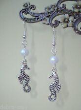 Pretty Seahorse and White Pearl Dangly Drop Earrings