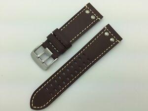 22mm 24mm 26mm MS915 fits Luminox Rivets Hadley Roma Genuine Leather Watch Band