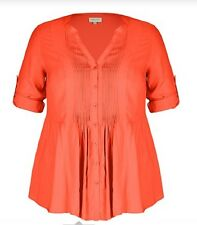 Plus Size Loose Fitting Pleat Front Orange Shirt 3/4 Sleeve  Size 18 FREE POST