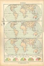 Carta geografica antica PLANISFERO MINERALI nel MONDO De Agostini 1927 Old map