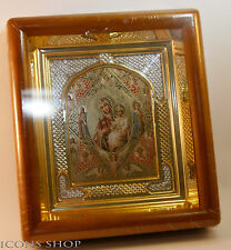 burning bush  russian orthodox church icon in wood frame неопалимая купина киот