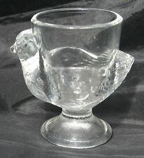 Vintage Pressed Glass  Footed Chick Egg Cup 1970s stamped Signed France 27